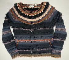 Womens Carducci Hand Knit Black Blue Multi Color Button Front Sweater Size M