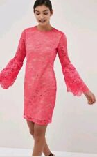 Next Coral Lace Flute Sleeve Dress Nude Lining  Evening WEDDING SIZE 12 TALL NEW