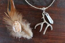 Gorgeous Handmade Silver Bead, Antler & Howlite Hexagon Stone Pendant Necklace