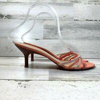 Ann Taylor Sandals Kitten Heel Leather Slip On Coral Pink Women's Size 7M