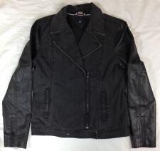 Tommy Hilfiger Women's Jean Jacket W/ Black Faux Leather Sleeve Denim Size M EUC