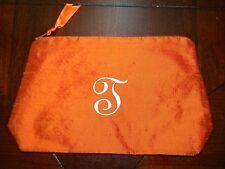 Orange Cosmetic Make-up Bag Dupioni Silk Small Travel Case J T Monogram Initial