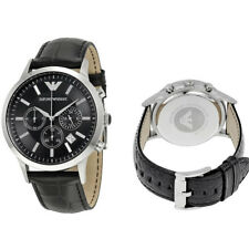 NEW Emporio Armani AR2447 Black Leather Silver Chronograph Mens Wrist Watch