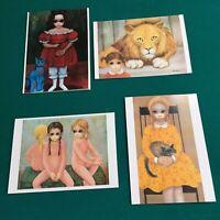 "Vtg 80s ""Margaret Keane"" Lot #20 Cards Blank -Big Eyes 4 Styles 5x7-"