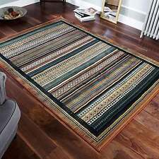 Gabbeh Tribal Rugs Multi Colour Striped Blue and Rust Wool Look 120x180cm 933/R