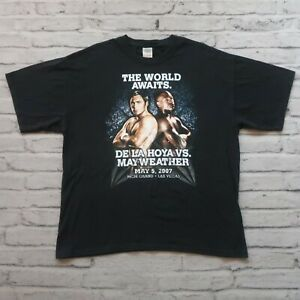 Vintage De La Hoya Mayweather 2007 Boxing Tshirt Size XL Fight Las Vegas