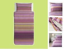 IKEA Palmlilja TWIN Duvet Cover Set Pillowcase Purple Lilac Stripe Gray Lime NEW