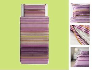 "IKEA Palmlilja TWIN Duvet Cover Set Pillowcase""Lilac""Stripe Plum Purple Lavender"