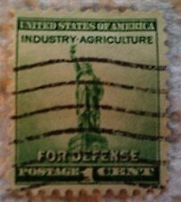 1940 Scott 899 U. S. Defense Statue of Liberty one used 1 cent stamp off paper