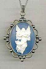 Elegant Antique Silver GUARDIAN ANGEL Ivory Wings Blue CAMEO Pendant Necklace