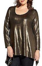 Karen Kane Plus Size Metallic Black w/Gold Handkerchief Hem Top, 0X - MSRP $102