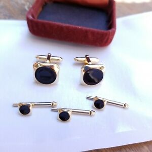 Vintage Men's Swank Formal Cufflinks and Shirt Studs, Onyx and Gold