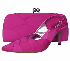 Ladies Wedding Party Heel Shoe Evening Shoes Diamante Fuchsia Hot Pink Satin NEW