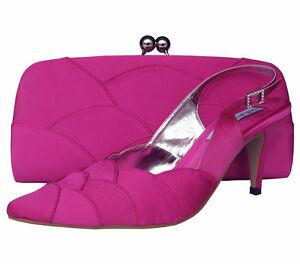 Ladies Wedding Party Heel Shoe Evening Shoes Diamante Fuchsia Hot Pink Satin NEW