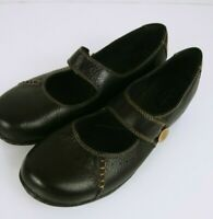 Clarks Bendables Mary Jane Flats Black Leather Slip On Womens Shoes Size 7.5M