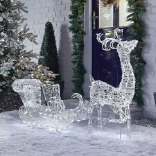 LED Christmas Reindeer & Sleigh Snow Decoration Acrylic Outdoor Garden lights