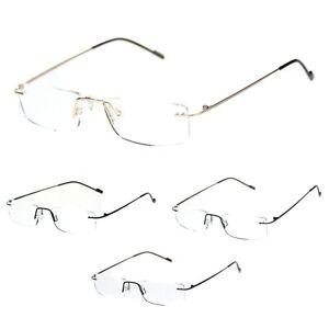 Rimless Rectangular Clear Super Light Weight Reading Glasses