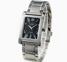 NEW CASIO BEM100D-1A2 MENS STAINLESS STEEL SQUARE MODERN DRESS WATCH BLACK DIAL