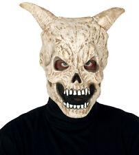 Mens Devil Skull Mask & Horns Latex Overhead Scary Halloween Fancy Dress Horror