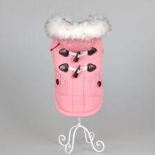 Winter Dog Coat Warm Pet Jacket Fur Collar Clothes Small Medium Teddy Apparel