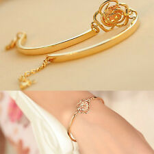Women Hand Jewelry Gold Plated Hollow Out Rose Carving Crystal Bracelets FC