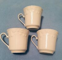 3 Coffee Tea Cups Mugs by Culinary Collection White Porcelain