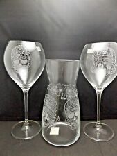 HAND ETCHED ROCKABILLY SUGAR SKULL RED WINE GLASSES AND CARAFE