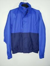Mens M Eddie Bauer Hidden Hood Royal Blue Windbreaker Zipper/Snap Coat/Jacket