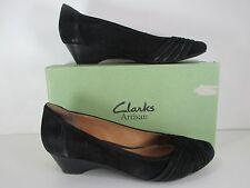 Clark's Artisan RYLA KING Black Suede Slip On Dress Heels Size 10 42 EU