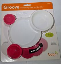 NEW Boon Brand Groovy Interlocking Toddler Plate And Bowl Set White And Pink