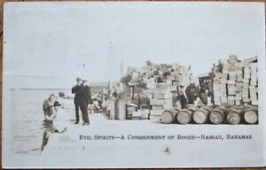 Prohibition 1928 Realphoto Postcard: Evil Spirits & Shady Men - Nassau, Bahamas