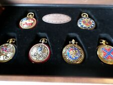 Franklin Mint Heroes of the Confederacy Pocket Watch Set (6) and Display Case