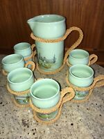 Vintage Italy Pottery Pitcher Cup Mug Mid Century Italian Art Design 7pc Rare