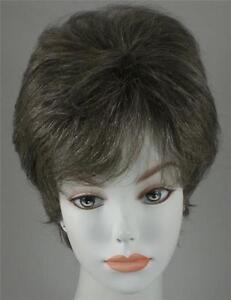 100% Human Hair Short Straight Slightly Wavy Wig Wispy Bangs Women's Salt/pepper