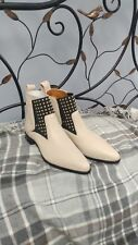 Chloe New Vitello Polo. Natural Beige Calf Bootie W/ Studs Size 37.5/7.5