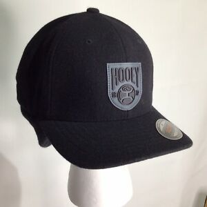 Hooey Out Cold Winter Caps Black / BlackEar Flap Wool Blend Stretch L/XL New