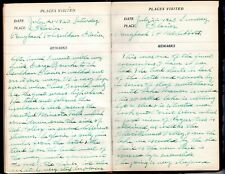 1923-24 Handwritten Travel Diary Canada Oregon Washington State South America