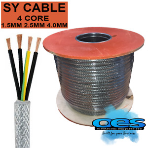 SY BRAIDED CONTROL CABLE 4 CORE 1.5MM 2.5MM 4MM FLEXIBLE STEEL WIRE ARMOURED