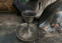 Antique Victorian Decorated Brass Chamberstick Small Candlestick Flower Engraved