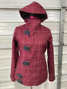 Burton Dryride Snowboard Jacket - Womens Small - Burgandy Red - Fur Liner