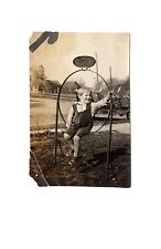 1920 EARLY AUTOMOBILE Little Boy SISSY HAIRCUT Sign Frame ORIGINAL PHOTOGRAPH