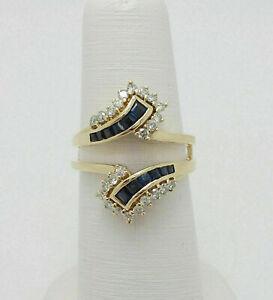1.60CT Blue Sapphire & Diamond 14K Yellow Gold Over Enhancer Wrap Ring Guard