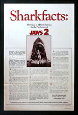 Jaws 2 * CineMasterpieces 1Sh Original Movie Poster Tri Fold 1978 Shark Facts
