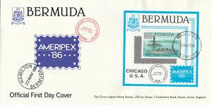 (89977) CLEARANCE Bermuda FDC Ameripex minisheet 1986