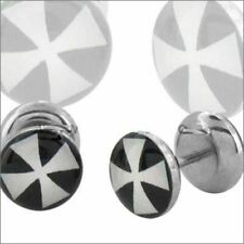 Body Accentz™ Earrings Rings Fake Iron Cross Cheater Plug 16 Gauge - Sold as a P