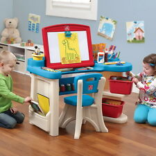 Kids Toddler Activity Draw Art Desk Chair Set With Easel Play Table Storage Bins
