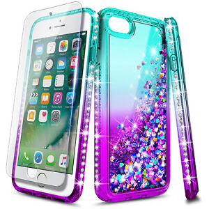 For iPhone 6 6s 7 8 Plus Case Liquid Glitter Cute Girl Women + Screen Protector