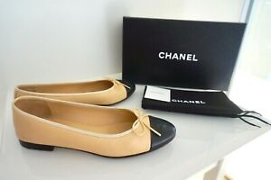 100% Auth. Chanel Classic Two Tones Lambskin Leather Ballet Flats Shoes 39.5