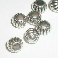 100 Lantern shaped spacer beads 6mm antique silver pewter Large Hole (46392)