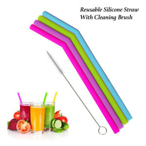 REUSABLE SILICONE Straw Washable Eco-friendly Drinking Straws & CLEANING BRUSH